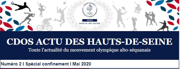 Le 2ème numéro du CDOS Actu des Hauts-de-Seine - Spécial confinement - mai 2020