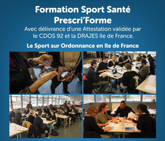 Notre prochaine formation Sport Santé Prescri'forme - Session Novembre et Décembre 2021