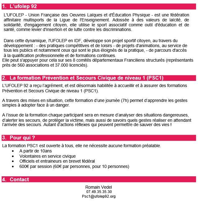 Les formations Secourisme PSC1 de l'UFOLEP 92