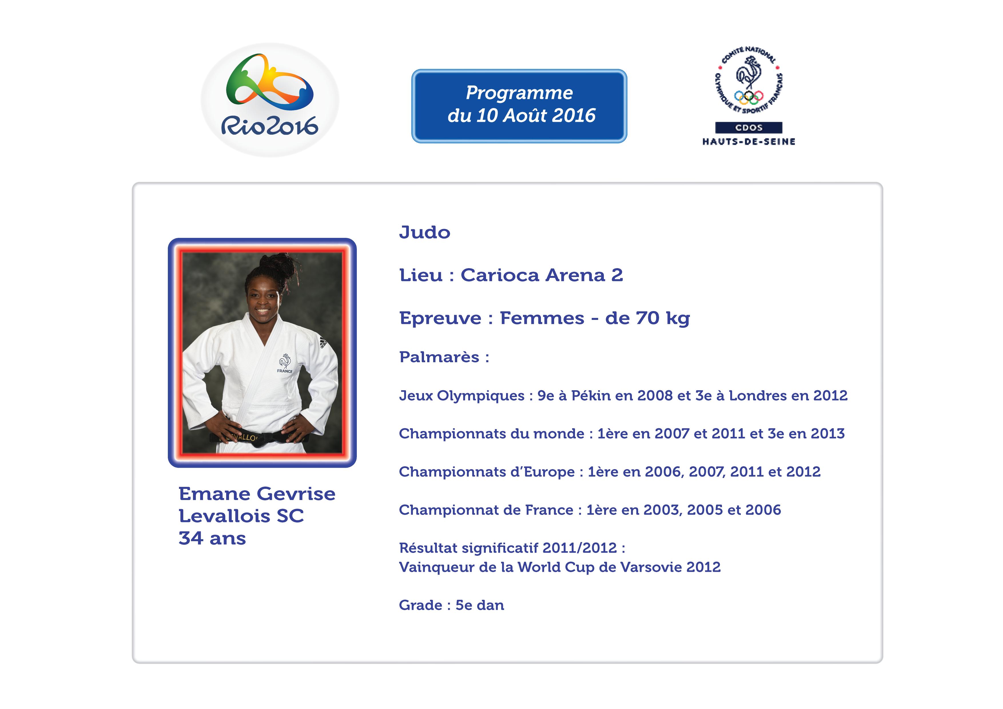 Programmes des Athlètes Alto-séquannais : 10 Août