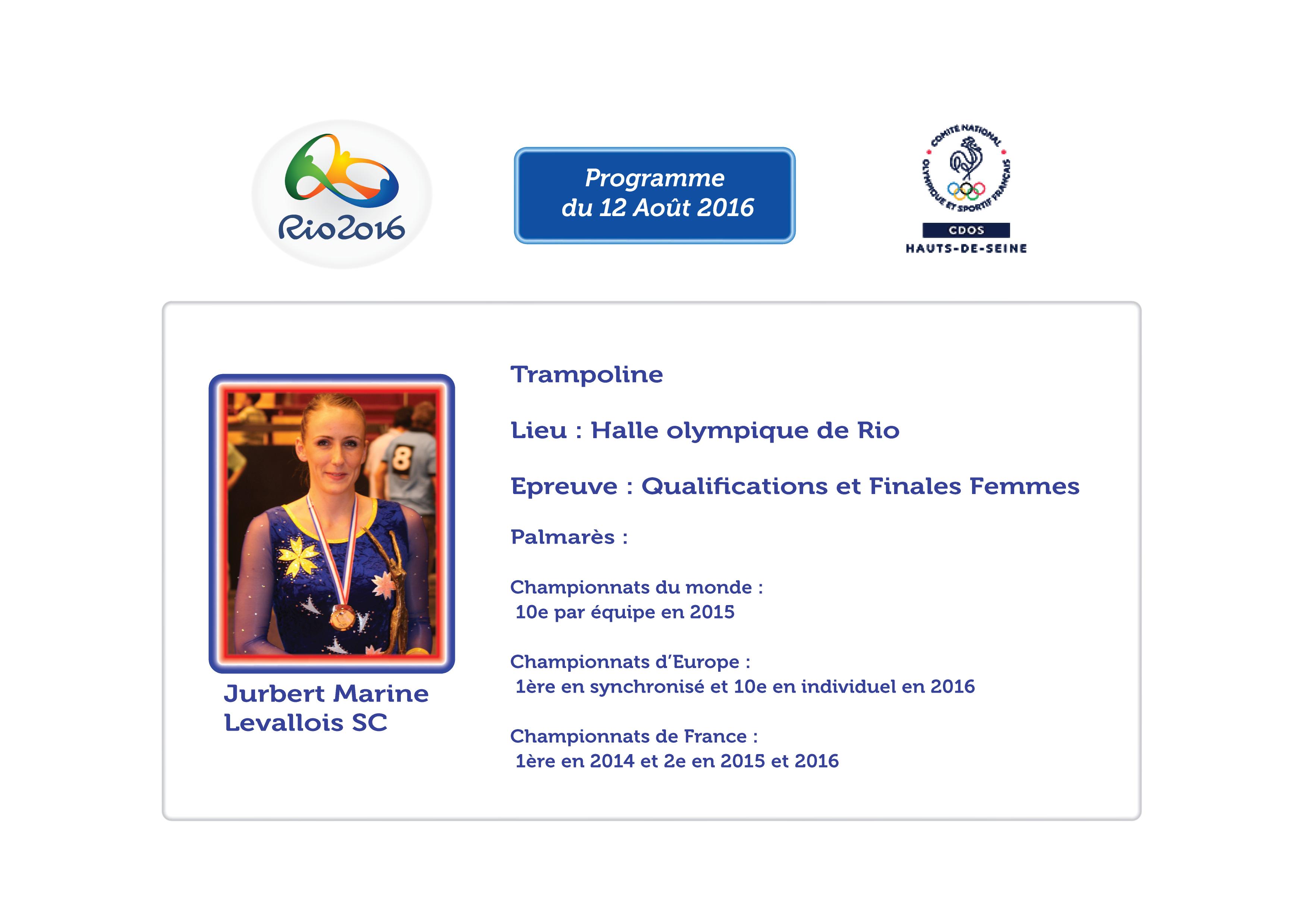 Programme des Athlètes Alto-Sequanais à RIO : 12 Août