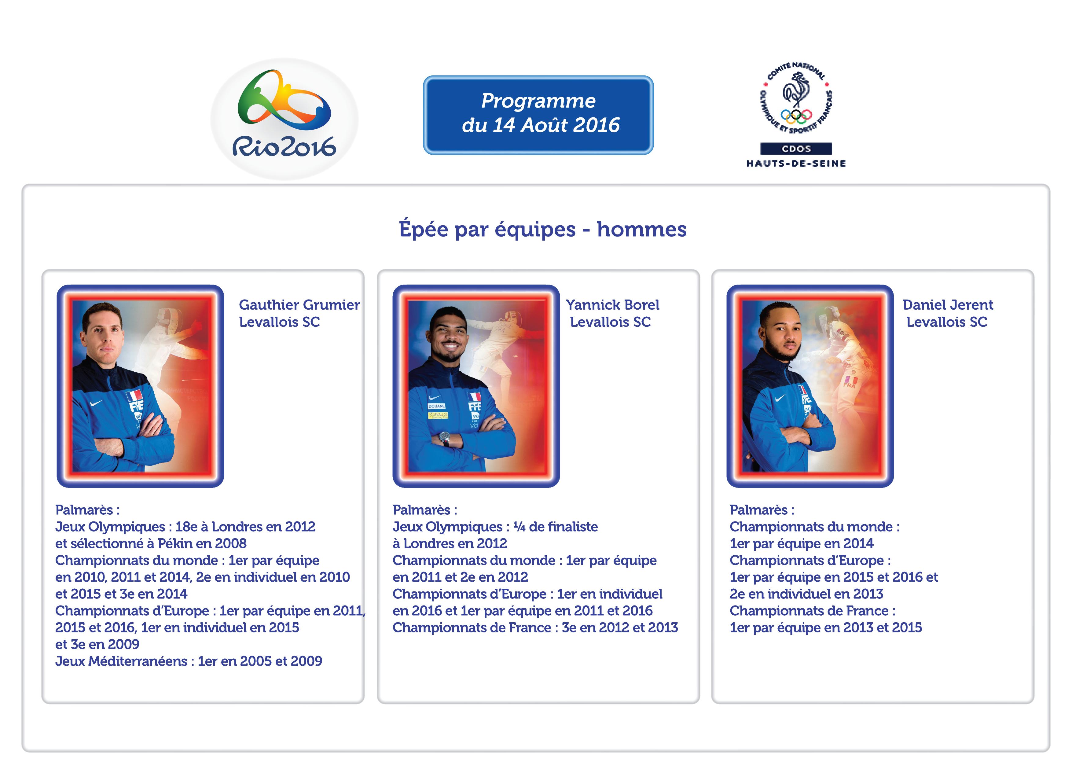 Programme des Athlètes Alto-Séquanais à RIO : 14 Août