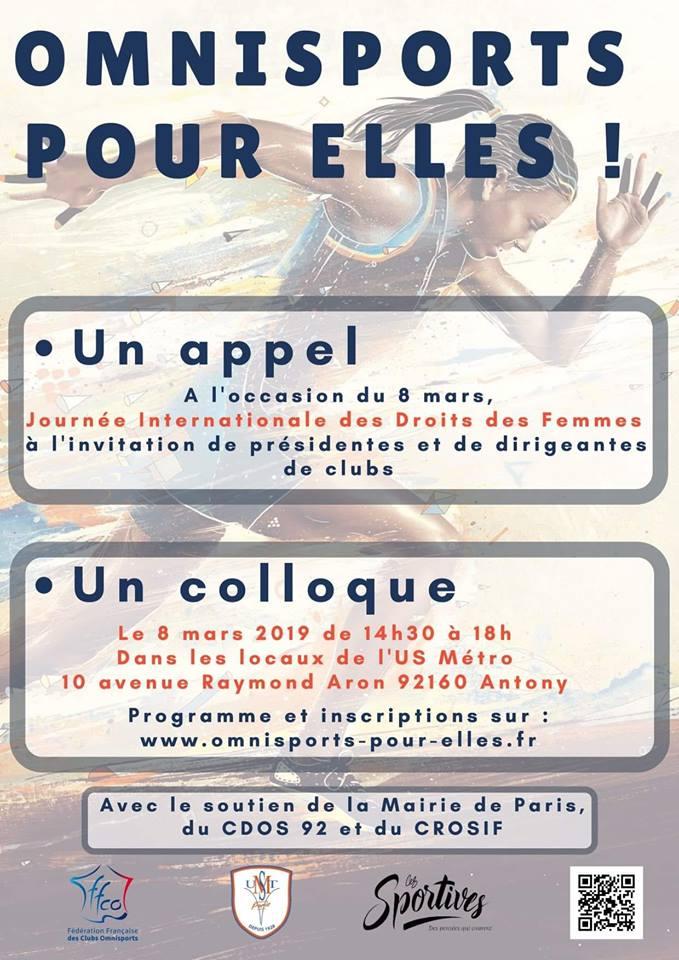 """Appel du 8 Mars 2019 et Colloque """"Omnisports pour elles"""""""