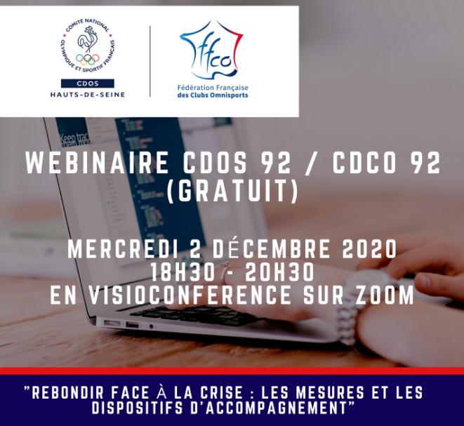 """Webinaire CDOS 92 / CDCO 92 (gratuit) - """"Rebondir face à la crise : les mesures et les dispositifs d'accompagnement"""""""