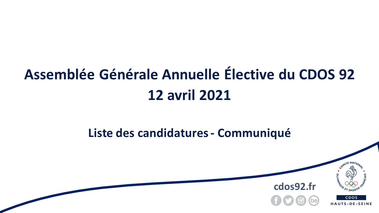 Assemblée Générale Annuelle Elective 2021 du CDOS 92 - Communiqué