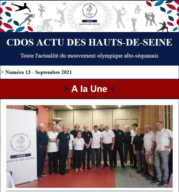 CDOS Actu des Hauts-de-Seine - Numéro 13 - Septembre 2021