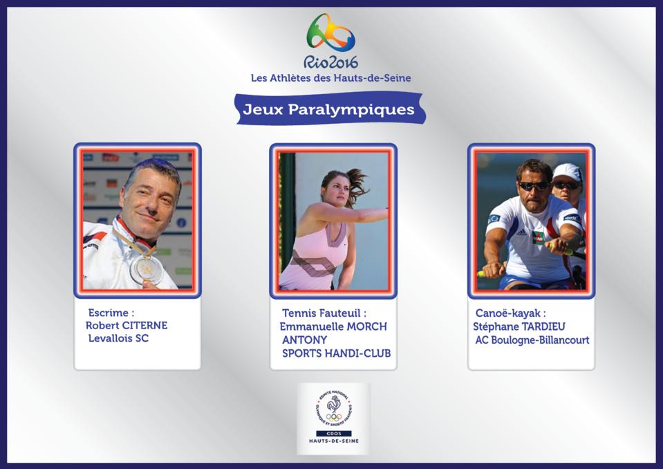 Les Athlétes Paralympiques des Hauts-de-Seine sélectionnés pour RIO 2016