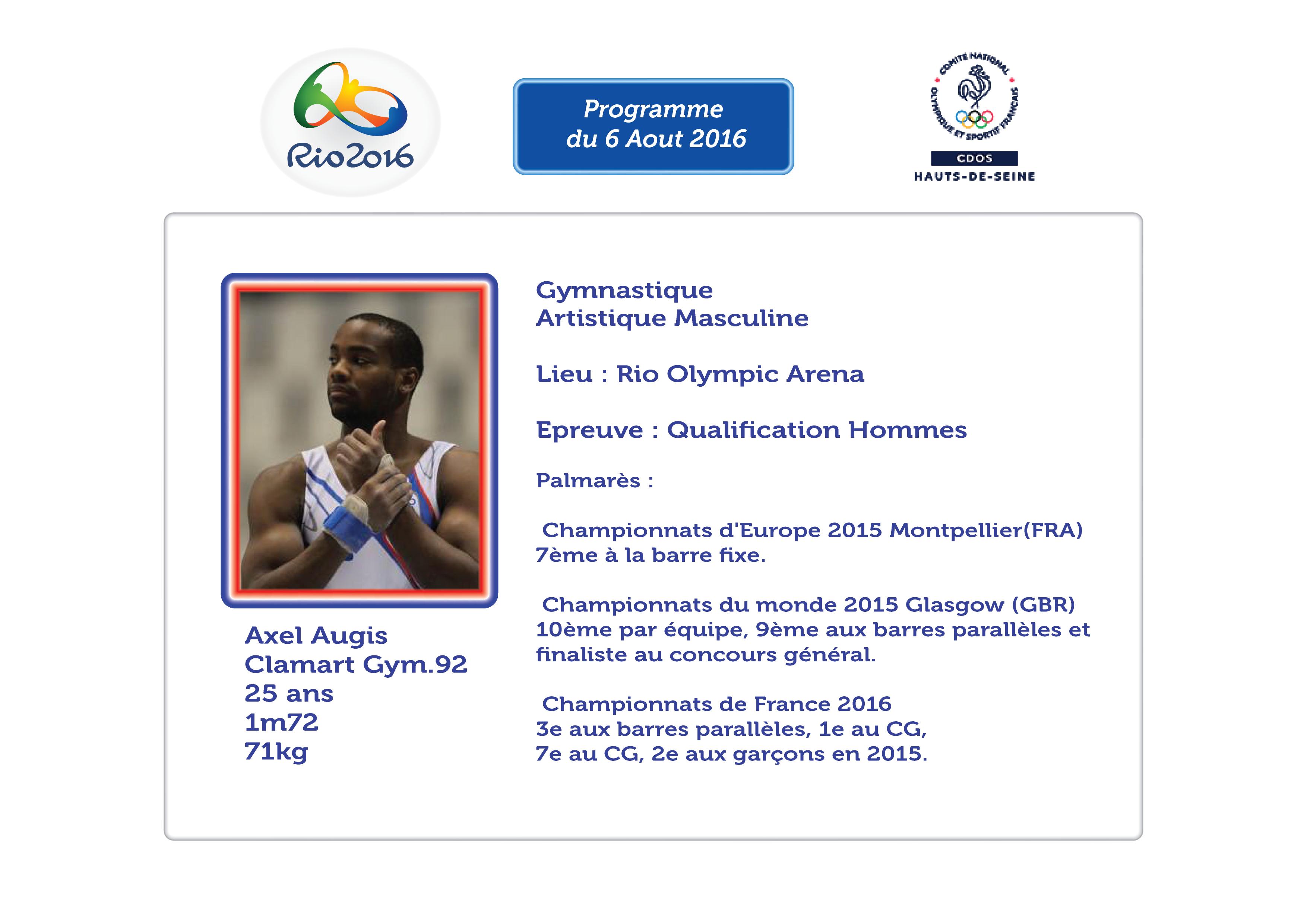 Programme des Athlètes Alto-Séquanais : 6 Aout