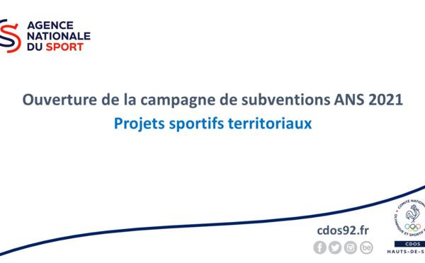 Ouverture de la campagne de subventions ANS 2021 - Projets Sportifs Territoriaux